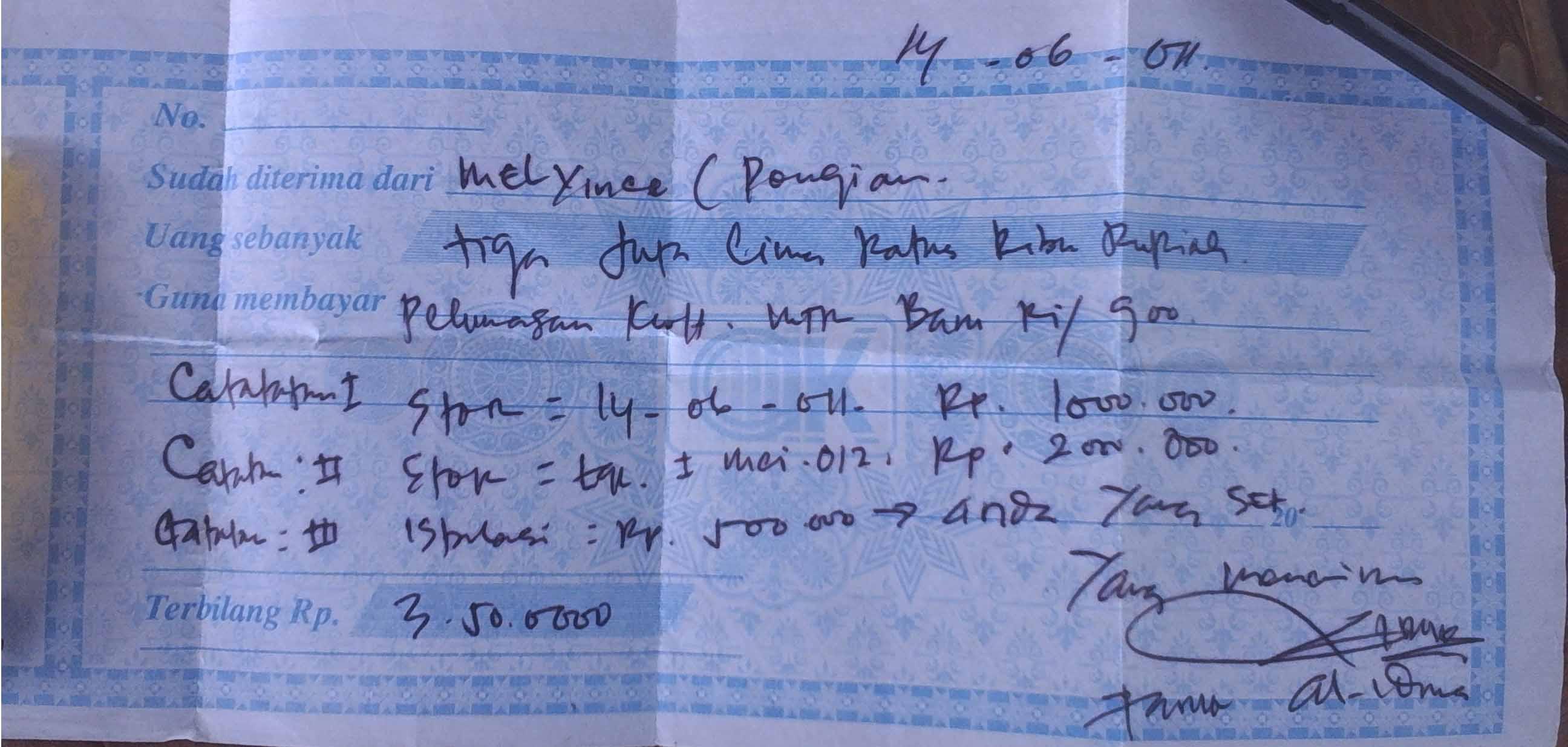 Photo Bukti Kwitansi Pembayaran Pasang Baru 3 Juta Rupiah